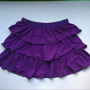 Ruffle knit prism purple mini skirt